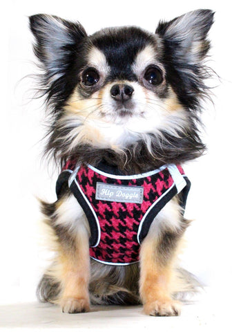 Hip Doggie EZ Reflective Houndstooth Harness Vest - Pink/Black - Dawn's Doggy Duds