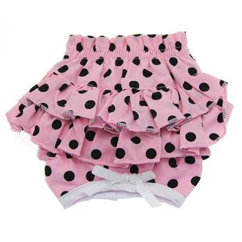 Ruffled Pink and Black Polka Dot Dog Panties - Dawn's Doggy Duds