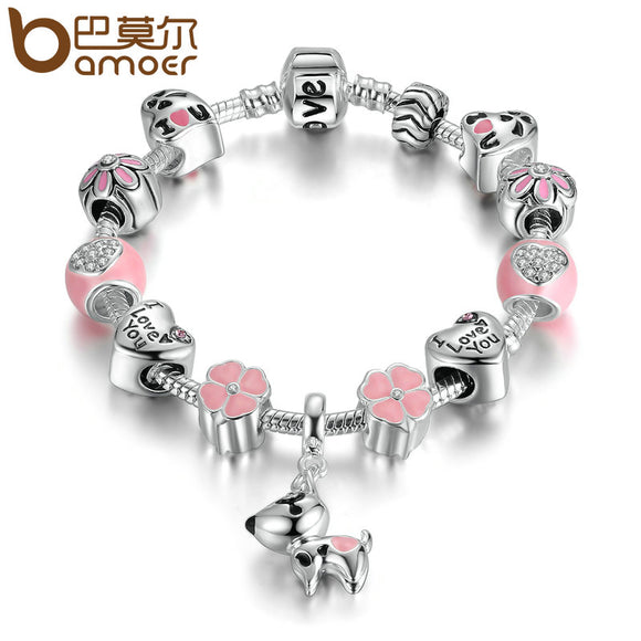 BAMOER Silver Plated Dog Pink Heart & Flower Charm Bracelet - Dawn's Doggy Duds