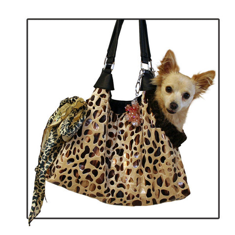 Mirage Pet Products Tan with Animal Foil Run Around Pet Carrier Tote