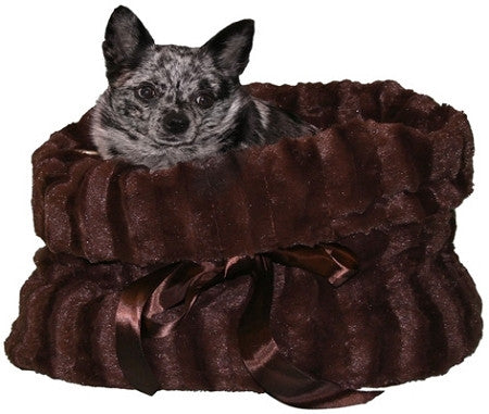 Brown Reversible Snuggle Bugs Pet Bed, Bag, and Car Seat in One