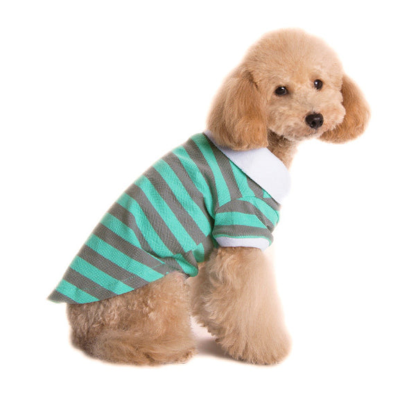 PuppyPAWer Stripe Polo Green/Gray - Dawn's Doggy Duds