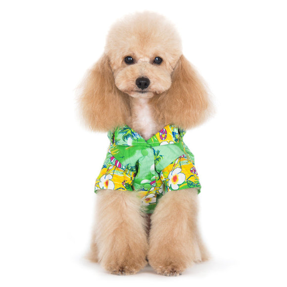 Tropical Island Shirt Green - Dawn's Doggy Duds