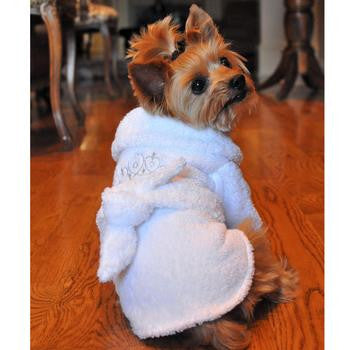 White Silver Tiara Cotton Dog Bathrobe - Dawn's Doggy Duds