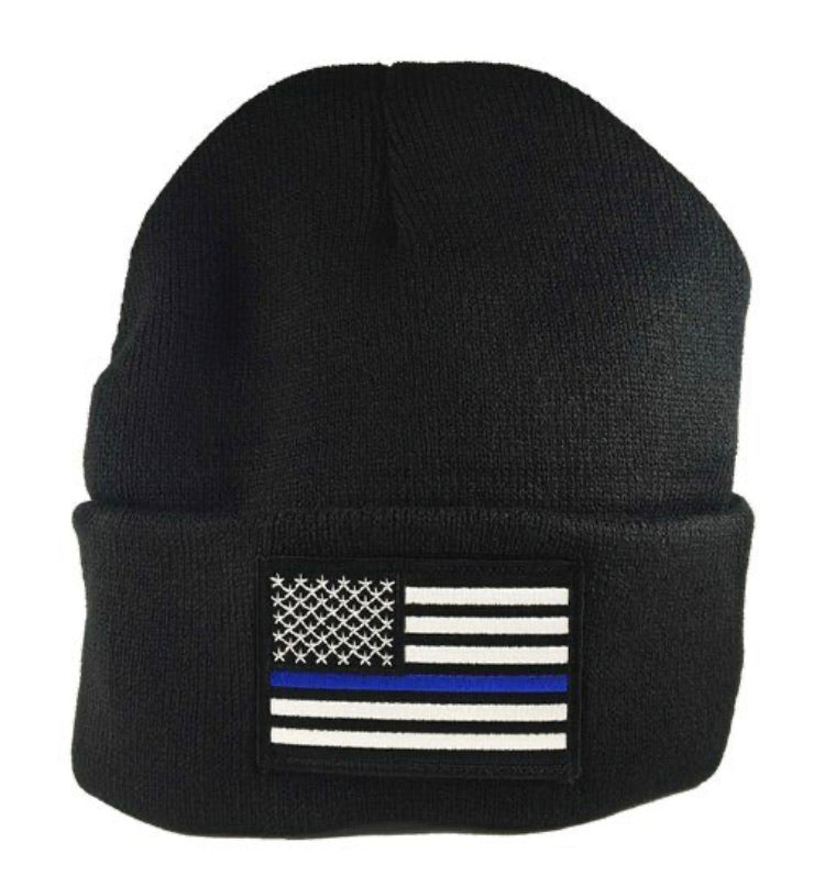 Thin Blue Line Embroidery Beanie