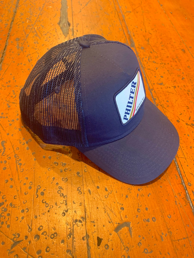 Philter Patched Cap - Cotton Twill Trucker Cap - Navy