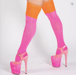MEDIAS OVER THE KNEE PINK & ORANGE SOCKS ROLLING