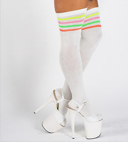 MEDIAS OVER THE KNEE OFF WHITE STRIPED SOCKS Rolling