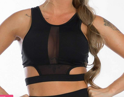 Top Negro Doble Transparencia/ Sport Bra Double Black Transparency