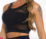 Top Negro Negro Faja Transparente/ Sport Bra Black Transparency