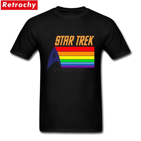 Latest Branded Apparel Summer T Shirt Men STAR TREK ENTERPRISE RAINBOW TRAIL T-SHIRT Boys Fitness Short Sleeve Crewneck Tee