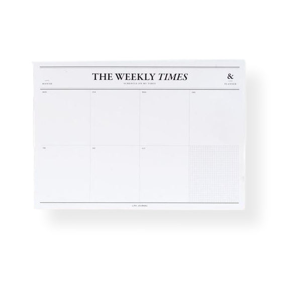Seeso Graphics - The Weekly Times - Planificador semanal de mesa A4 (21 x 27 cm)