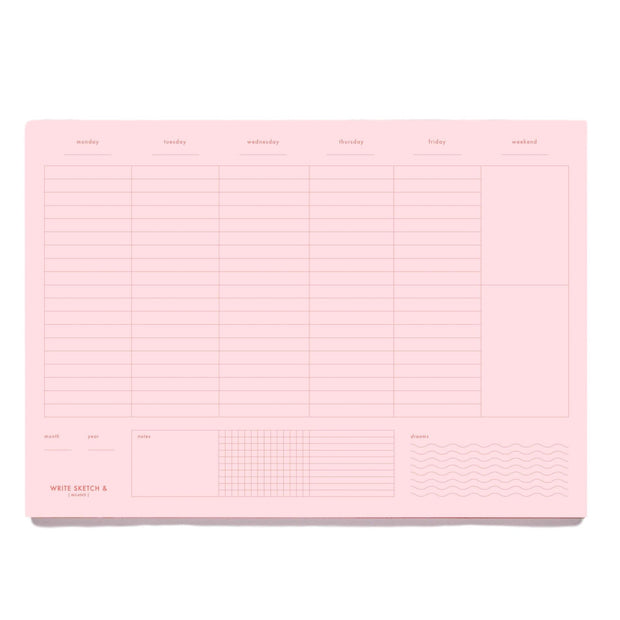 Write Sketch & - Weekly Planner – Planificador Semanal Rosa A4 (21x 30 cm)