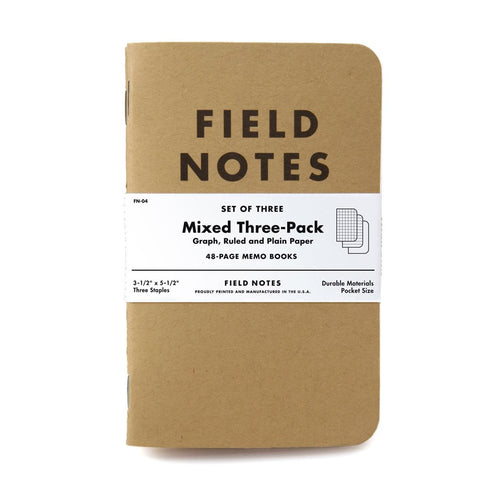 Field Notes - Original - Set de 3 Libretas Lisa, Rayada y Cuadriculada A6 (9 x 14cm)
