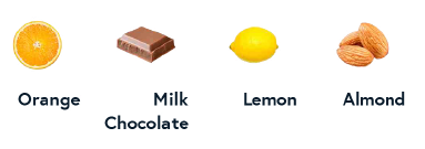 Orange, Milk Chocolate, Lemon, Almond