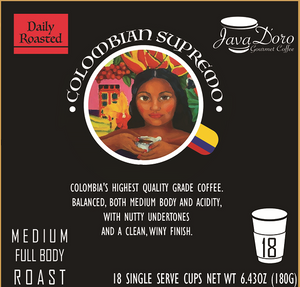 Colombian Supremo Coffee Pods - 18 Count