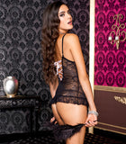 Lace cami with g-string BLACK