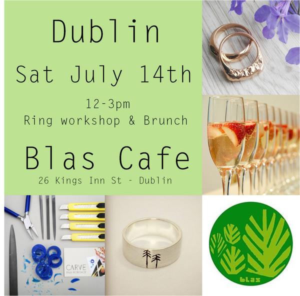 Carve @ Blas Cafe Sat July 14th 12-3  (Workshop, brunch & prosecco-Finished ring additional - See description)