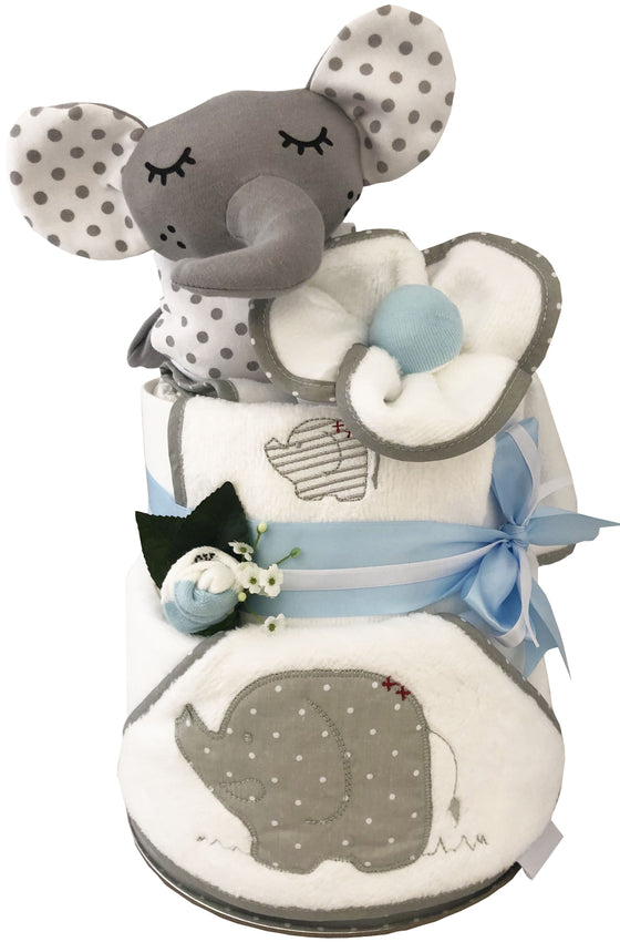 Baby Petite Elephant Hooded Towel & security blanket Nappy Cake Set