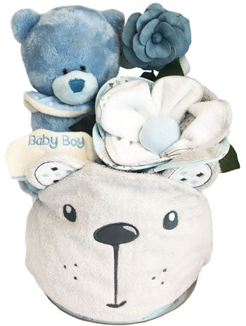 Baby Beary Happy Hooded Towel Nappy Cake Set