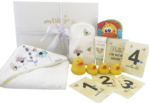 Bath Time Hamper - Bubba Blue Bee Hooded Towel set and baby ducks