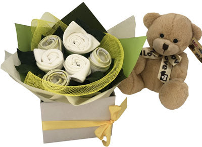 Baby Unisex Bouquet and beige bear