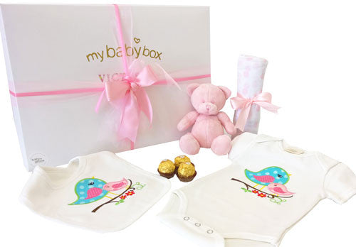 Baby Girl Gift Hamper - Baby Clothing, Bubzee Bear and Muslin Wrap