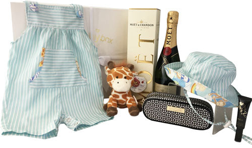 Baby Hamper with Play Overalls and pippins giraffe