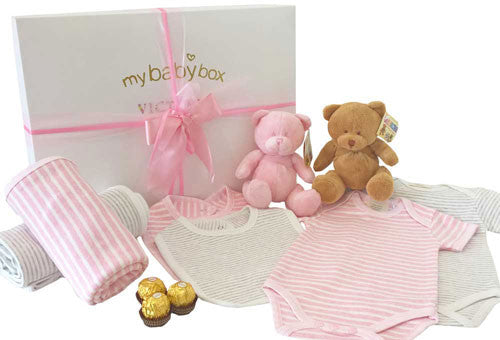 Twin Girl Luxury Baby Hamper, Bubzee Bears and Clothing Set