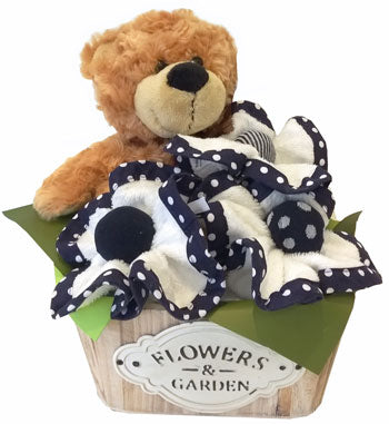 Baby Boy Basket - Buddy Bear, face washers and baby socks