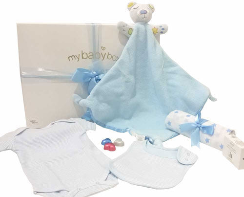 Baby Boy Hamper - Bubba Blue Security Blanket and Clothing Set