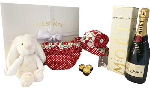 Baby Girl Luxury Hamper with plush bunny Cherry Ruffle Bloomers