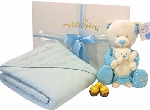Mother and Baby Boy Hamper and Teddy Bear