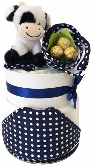 Navy Mother and Baby Nappy Cake Pippins Cow
