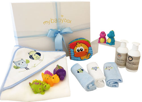 Bath Time Hamper - Bubba Blue Owl Boy Hooded Towel set and Bath Products
