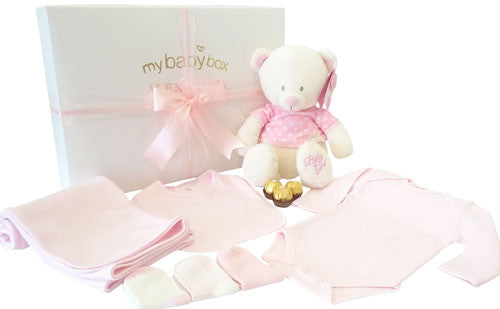 Baby Girl Teddy Hamper and Clothing Set