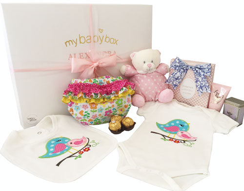 Baby Girl Teddy Basket with baby clothing set and MOR Little Luxuries