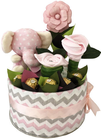 Baby Elephant Girl Nappy Cake