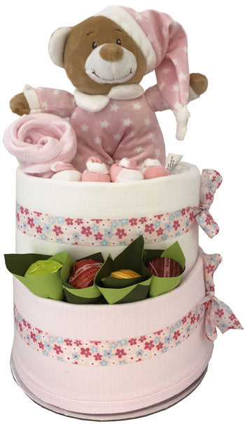 Nappy Cakes Pink Teddy Bear Baby Girl