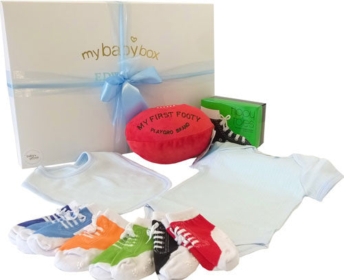 Footy Baby Hamper, Baby Clothing Set and Kicker Socks
