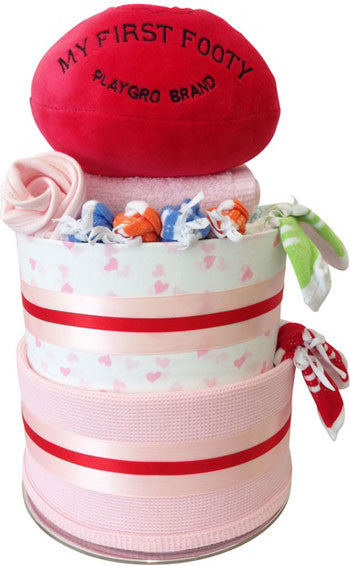 Nappy Cakes First Footy Muslin Wrap Baby Girl