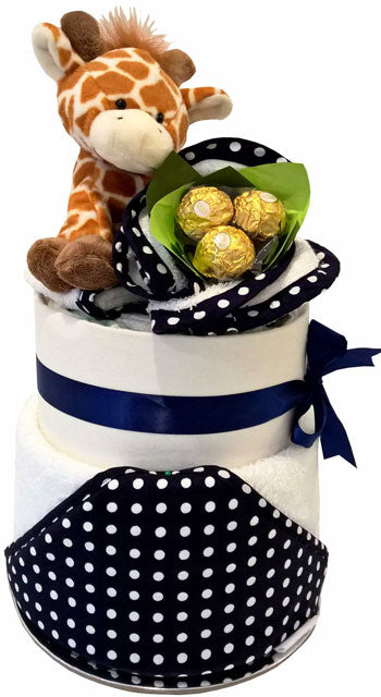 Nappy Cakes Bubba Blue Navy Polka Dot Pippins Giraffe