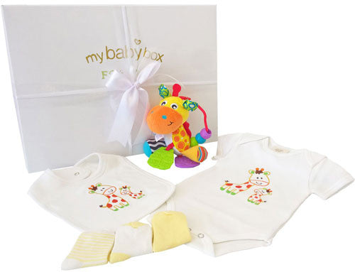 Play Time Hamper - Activity Giraffe Rattle, Baby Clothing Set