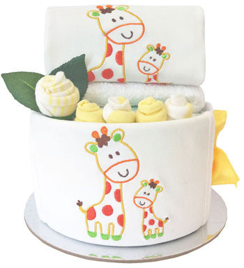My First Wardrobe Cake - Premium Sweet Giraffes Embroidered Baby Set