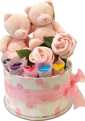 My Little Twins Nappy Cake with Korimco Toys Baby Girls