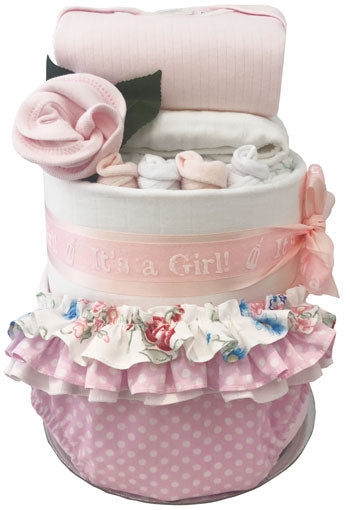 70650a210 Ultimate It s a Girl Essentials Baby Girl First Wardrobe Nappy Cake