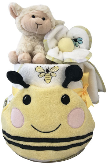 Nappy Cake Bath Time Deluxe Bumble Bee and Lamb Gift