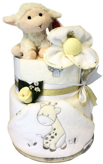 Play Time Unisex Hooded Towel Nappy Cake with plush lamb