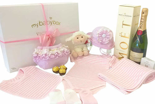 Baby Girl Luxury Gift Hamper, Baby Clothing Set, ruffle bloomers, pippins lamb and Moet