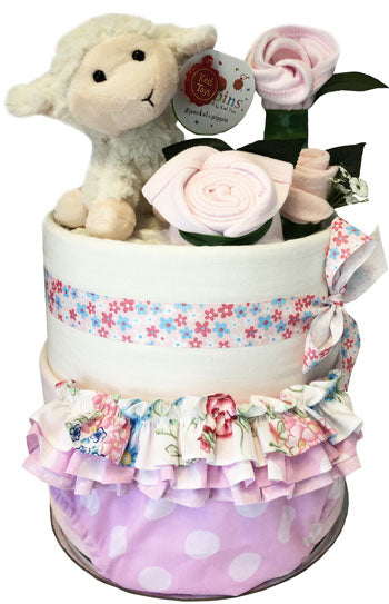Baby Summer Wardrobe Nappy Cake with plush lamb